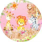 Painel de Festa Redondo em Tecido Sublimado com elástico Safari Aquarela Rosa - Sublime sonhos