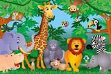 Painel de Festa Safari Zoo Animais 03 - Colormyhome