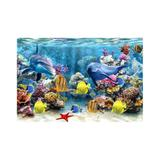 Painel de Lona Fundo do mar Golfinhos e peixes - Fabrika de festa