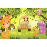 Painel de Lona Safari Rosa - Fabrika de festa