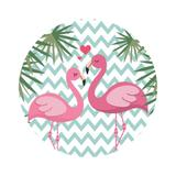 Painel De Tecido Sublimado Redondo Flamingos Chevron Azul Claro C/Elástico - Fabrika de festa