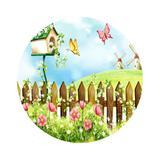 Painel De Tecido Sublimado Redondo Jardim Encantado das Borboletas - Fabrika de festa
