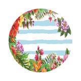Painel De Tecido Sublimado Redondo Tropical Flores Azul Bebe C/Elástico - Fabrika de festa