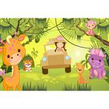 Painel de Tecido Sublimado Safari Rosa - Fabrika de festa