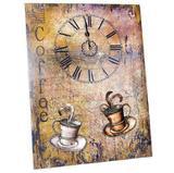 Painel decorativo mdf metal - relogio café - unika - ref 79 - Morgadosp