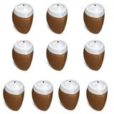 Paliteiro em Plastico Formato de Coco Marrom 160 Ml 10 Unidades  injetemp