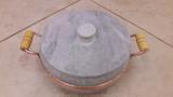Panela alças  de cobre e madeira 4,0 litros em pedra sabão - Minas pedra sabão