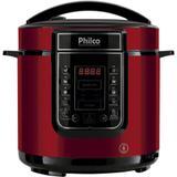 Panela De Pressão Elétrica Digital Philco 6L 1000W Inox Vermelha - 220v