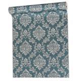 Papel De parede importado lavável vinílico texturizado arabesco floral listrado quarto sala banheiro - Zcod