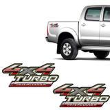 Par de Adesivos 4x4 Turbo Intercooler Hilux 2009 a 2012 - Sportinox