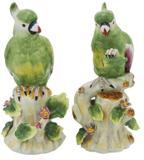 Par De Cacatua Em Porcelana Verde - Prime home decor