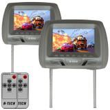 Par de Tela Encosto de Cabeça 7 Polegadas LCD TFT Universal Controle Remoto Cinza Modelo Escravo - H-tech