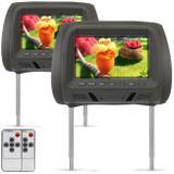 Par de Tela Encosto de Cabeça 7 Polegadas LCD Universal Controle Remoto Grafite Modelo Escravo - Prime