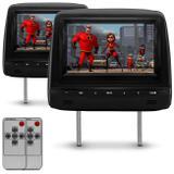 Par de Tela Encosto de Cabeça 7 Polegadas TFT LCD Com Controle Remoto Preto Ajustável Modelo Escravo - Prime