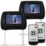 Par de Telas Encosto de Cabeça 7 Polegadas LCD Preto com Controle Remoto Modelo Escravo - Prime