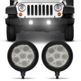 Par Farol de Milha Redondo Slim Power LED Universal 6 LEDs 12V 24V 6W Branco Auxiliar Neblina - Autopoli