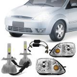 Par Farol Fiesta Hatch Sedan 2003 2004 2005 2006 2007 + Par Lâmpada Super Led 6000K - Prime