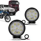 Par Farol Milha Redondo 9 Leds 27W 12V Carro Troller Jeep Auxiliar Neblina - Kit prime