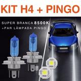 Par Lampada H4 Super Branca Tipo Xenon 8500k + Par Pingo Led - Importada