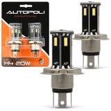 Par Lâmpadas H4 21 LEDs 6500K 12V 24V Luz Branca Carro Moto e Caminhão Modelo Original Autopoli