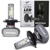 Par Lâmpadas Ultra LED H4 6000K 10000LM Efeito Xênon Aplicação Farol Carro com Reator - Shocklight