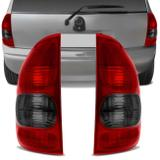 Par Lanterna Traseira Corsa Hatch 4 Portas Wagon Pick Up 2000 2001 2002 Bicolor Fumê - Kit prime