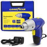 Parafusadeira Goodyear 6,5mm 200 RPM Bivolt sem Fio Bateria Recarregável 12V com Maleta 44 Peças