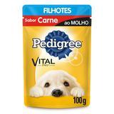 Pedigree Sachê Sabor Carne ao Molho Para Cães Filhotes 100g