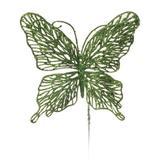 Pick Borboleta Decoração Natal C/Glitter 29Cm Verde - Cromus