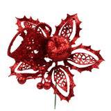 Pick Flor C/maçã Glitter Sarxpk-90130r 20cm Vermelha - Merita