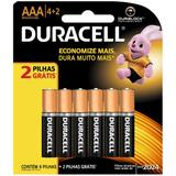 Pilha Palito AAA Leve 6 Pague 4 - Duracell