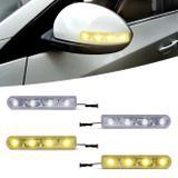 Pisca Seta Retrovisor Com 4 LEDs 12V Slim Seta Universal Luz Amarela e Branca Autopoli