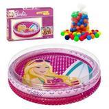 Piscina Infantil Inflável Barbie 135 Litros + 100 Bolinhas Fun