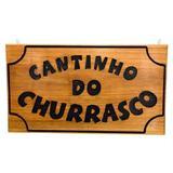 Placa Cantinho Do Churrasco Em Madeira Maciça Entalhada G - Dlima artes