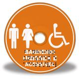 Placa de banheiro unissex/acessível em Braille - Tecnomidia