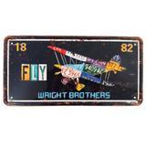 Placa De Carro Decorativa Em Alto Relevo Fly Wright Brothers - Versare anos dourados
