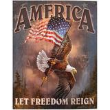 Placa De Metal America Aguia Da Liberdade - Versare anos dourados
