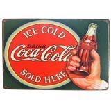 Placa De Metal Decorativa Coca Cola Ice Cold Vintage - Versare anos dourados