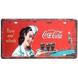 Placa De Metal Decorativa Coca Cola Pause And Refresh - Versare anos dourados