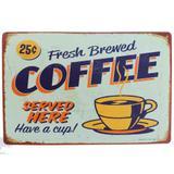 Placa De Metal Decorativa Coffee Served Here - Versare anos dourados