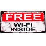 Placa De Metal Decorativa Free Wi-fi Inside - Versare anos dourados