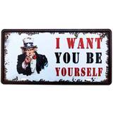 Placa De Metal Decorativa I Want To Be Yourself - Versare anos dourados