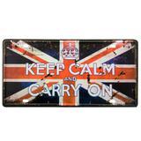 Placa De Metal Decorativa Keep Calm And Carry On - Versare anos dourados