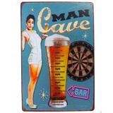 Placa De Metal Decorativa Man Cave Bar - Versare anos dourados