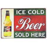 Placa de metal decorativa retrô ice cold beer sold here - Yaay