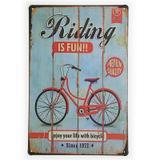Placa de Metal Decorativa Riding is Fun - Yaay