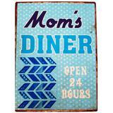 Placa De Metal Vintage Da Moms Diner - Versare anos dourados