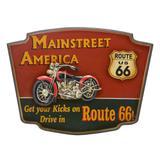 Placa de Parede Route 66 Vintage Red Car Route 66 54x40cm - Espressione