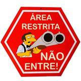 Placa Decorativa Mdf Area Restrita Não Entre Os Simpsons - Versare anos dourados