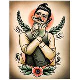 "Placa Decorativa Para Barbearias Quyen Dihn ""shaving Victorian Man Frontal View"" - Versare anos dourados"